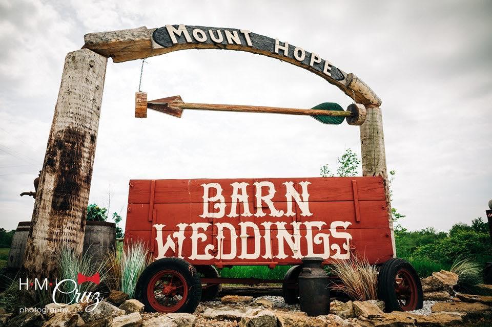 barn wedding wagon sign