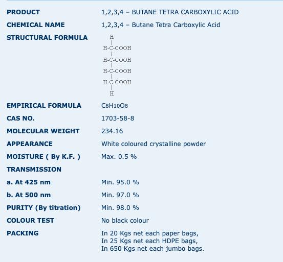 1,2,3,4 – BUTANE TETRA CARBOXYLIC ACID.p