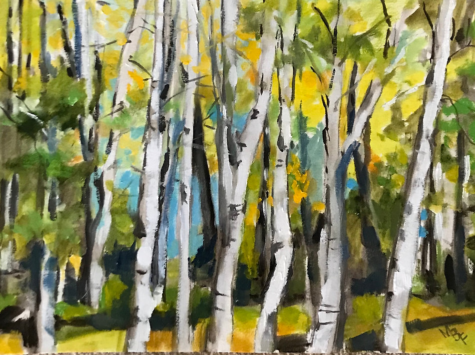 Yellow Leaves and Birches by Marcia Brandwein
