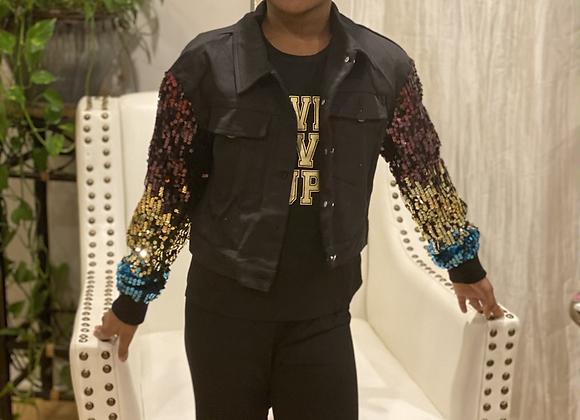 Royalty sparkle sleeve jacket
