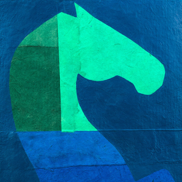 the rearing horse in blue