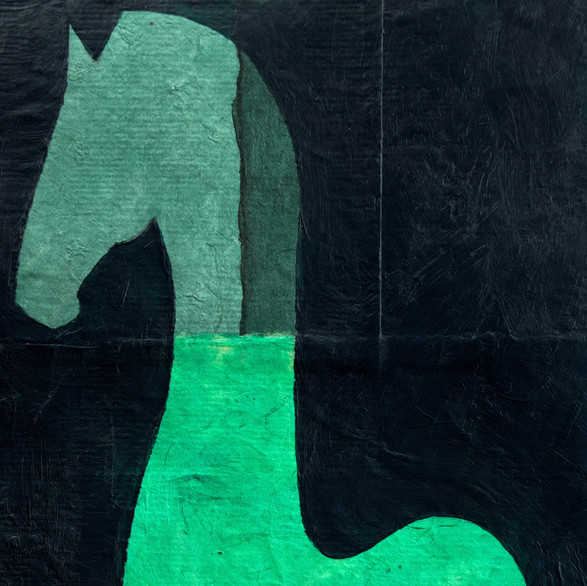 horse in piaffe in green