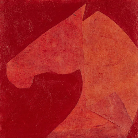 the rearing horse in red