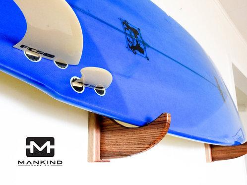 """Zebra wood with walnut backs - """"Laid back"""" single surfboard wall rack"""