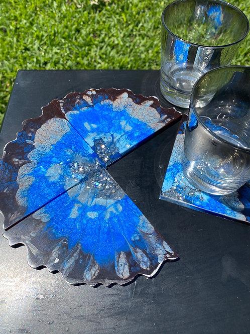 Blue/Black/Silver Coaster Set