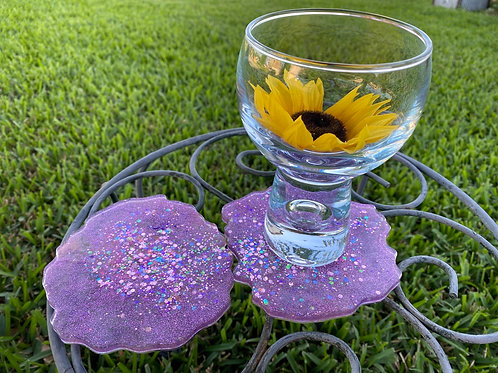 Purple/Pink Glitter Coasters