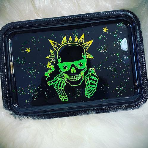 Green Skull Rolling Tray