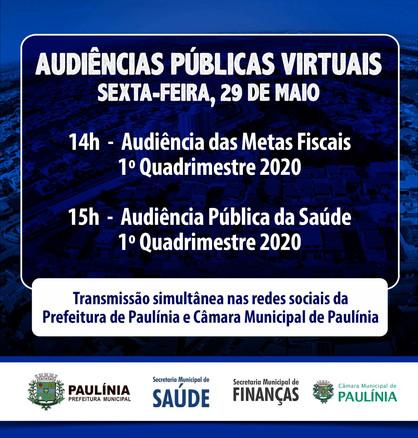 Prefeitura de Paulínia realiza audiências públicas virtuais