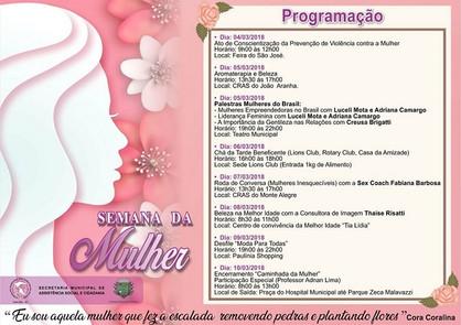 Atividades para comemorar a semana da Mulher iniciam neste domingo (4)