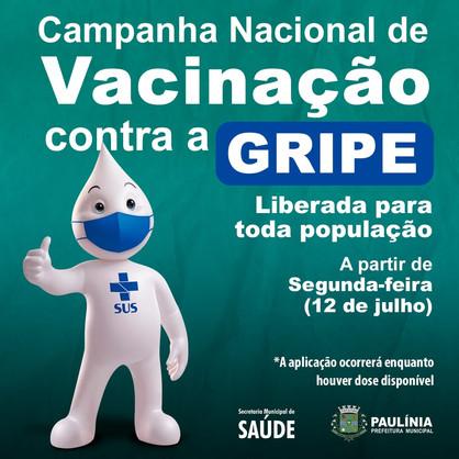 Vacina contra a gripe estará disponível para toda população paulinense a partir de segunda-feira (12