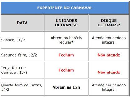 Unidades do Detran.SP fecham nos dias 12 e 13 de Carnaval