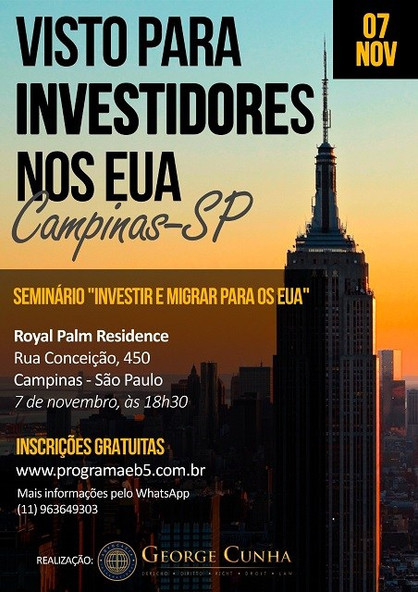 Seminário gratuito abordará tema sobre investimento nos Estados Unidos