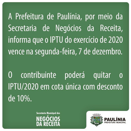 IPTU 2020 vence na próxima segunda-feira (7)