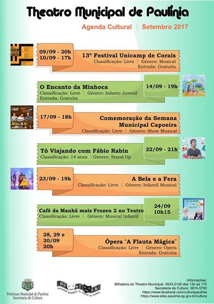 Agenda cultural do mês de setembro traz várias apresentações, lançamento de livro e café da manhã no