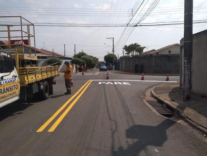 Prefeitura de Paulínia realiza pintura de solo e sinalização em diversas vias no município