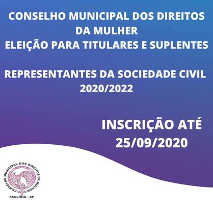 Inscrições para eleição do Conselho Municipal dos Direitos da Mulher encerram dia 25 de setembro
