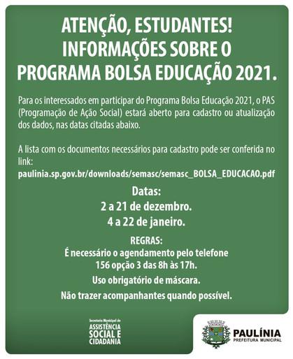 PAS abre cadastro para interessados no Programa Bolsa Educação 2021