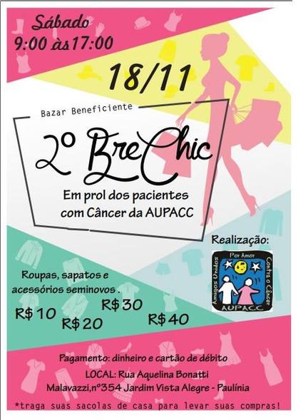 AUPACC Paulínia realiza 2º Brechic solidário em prol dos pacientes com câncer no próximo sábado