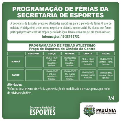 Esportes realiza programação de férias a partir da próxima terça-feira (12)