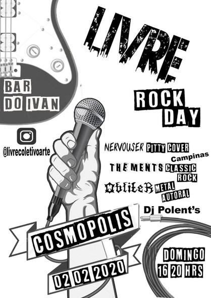 Evento cultural gratuito 'Livre Rock Day' acontece neste domingo (2)