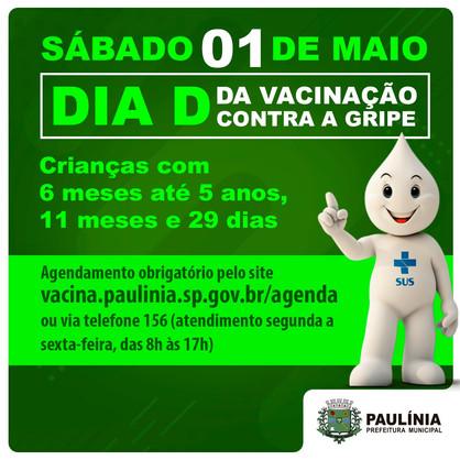 Paulínia realiza Dia D de Vacinação contra a Gripe neste sábado (1º)