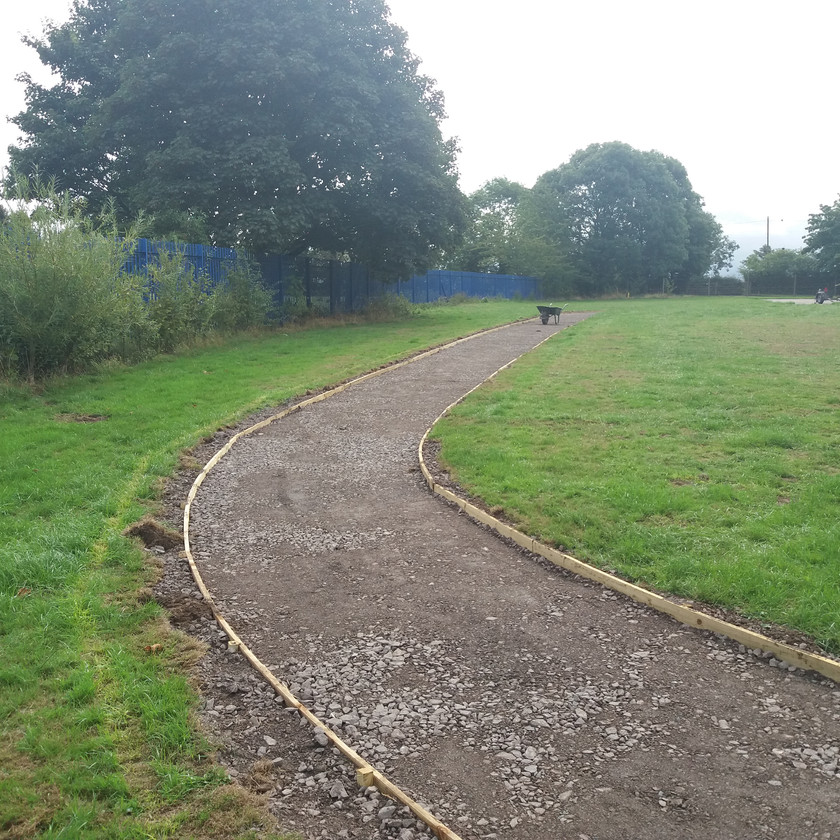 Part of new running track in West Midlands school constructed by Hilton Main Construction