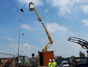Street Lighting Crew working on Lanterns in West Midlands