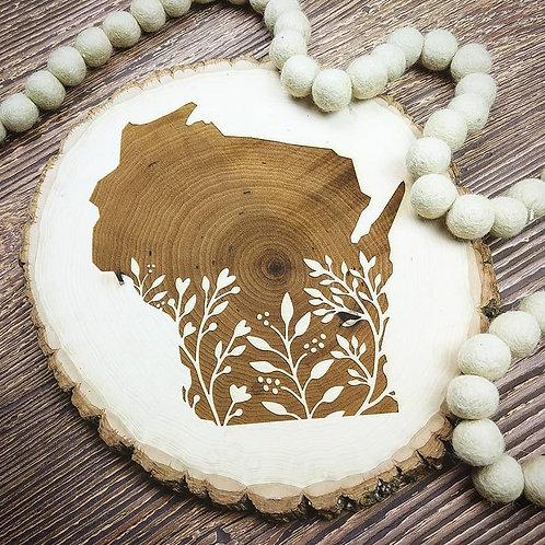 Wisconsin Floral Natural Wood Slice