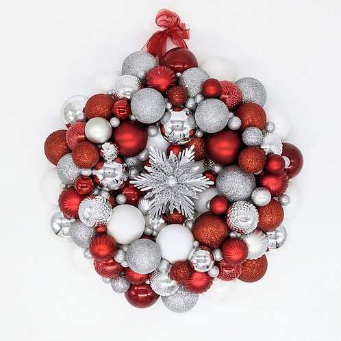 Red and Silver Ornament Wreath