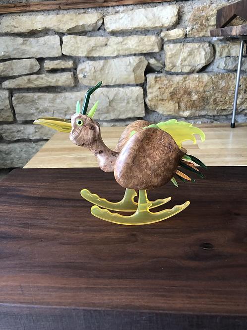 Amboyna Burl and Plexiglass Rocking Bird