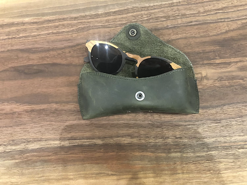 Leather Eye Glass Case-Olive