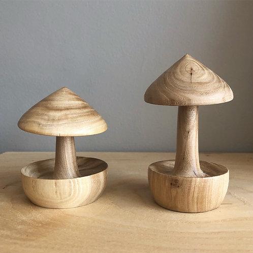 Wood Turned Maple Mushroom Ring Holders