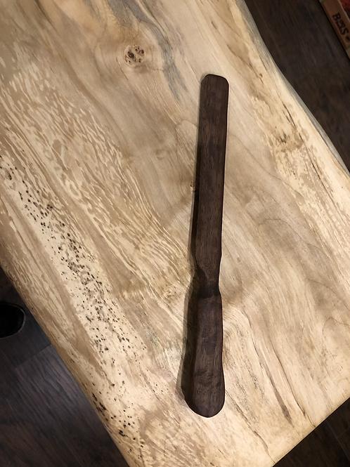 Black Walnut Carved Wooden Spreader/Butter Knife Large
