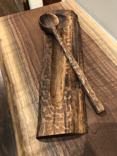 Carved Wooden Spoon and Spoon Rest