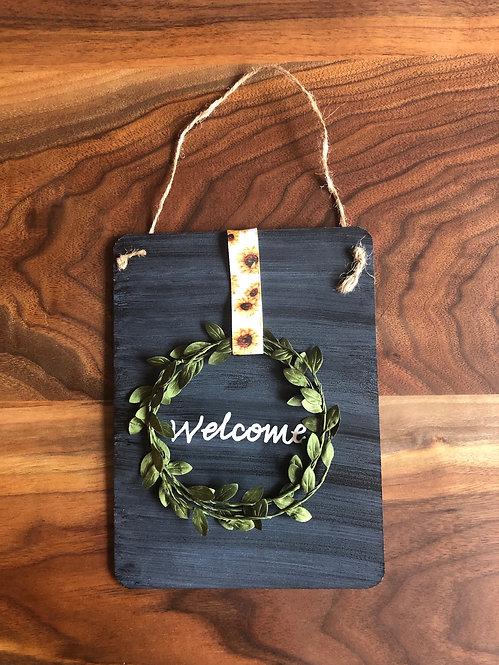Chalkboard Welcome Sign- Sunflower Ribbon