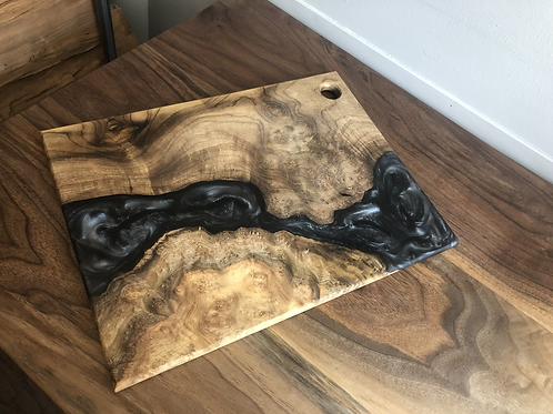 Exotic Wood and Charcoal/Silver River Resin Charcuterie Board
