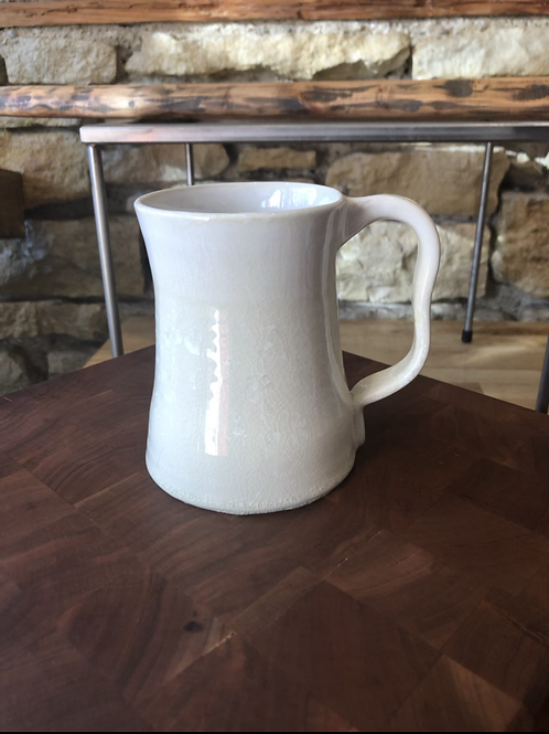 White Big Mug Stein Ceramic