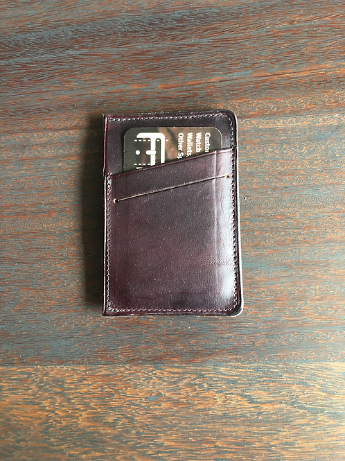 Burgundy Leather Micro Wallet w/ Front Slant Pocket