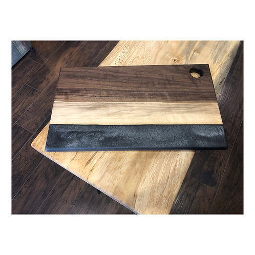 Black Walnut and Gray River Resin Charcuterie Board