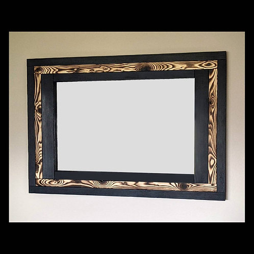 Rustic Torched Mirror