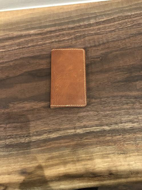 Leather Single Fold Micro Wallet-Tan