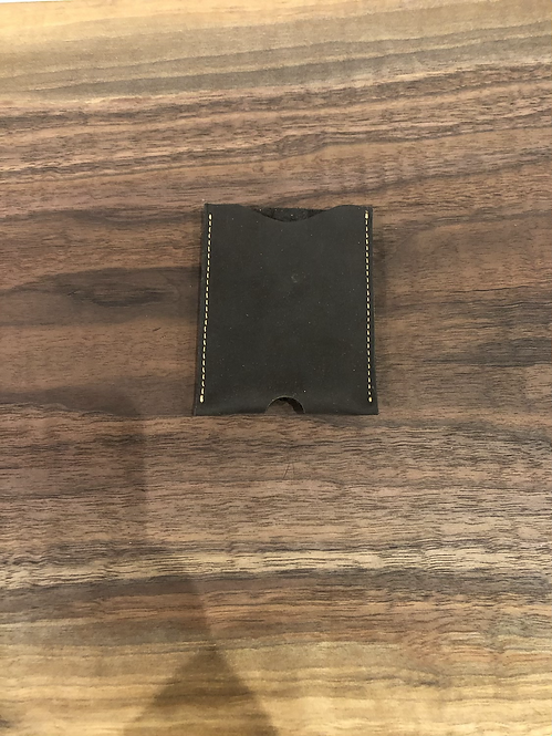 Leather Micro Card Holder w/ Money Clip-Black