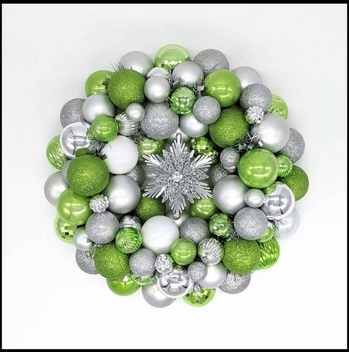 Green and Silver Snowflake Ornament Wreath