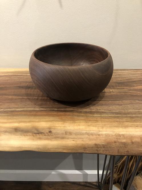 Black Walnut Wood Turned Popcorn Bowl