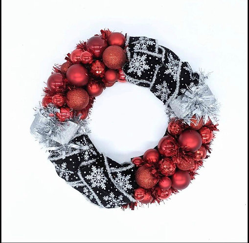 Ornament and Ribbon Wreath
