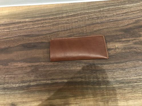 Leather Flat Eye Glass Case-Brown