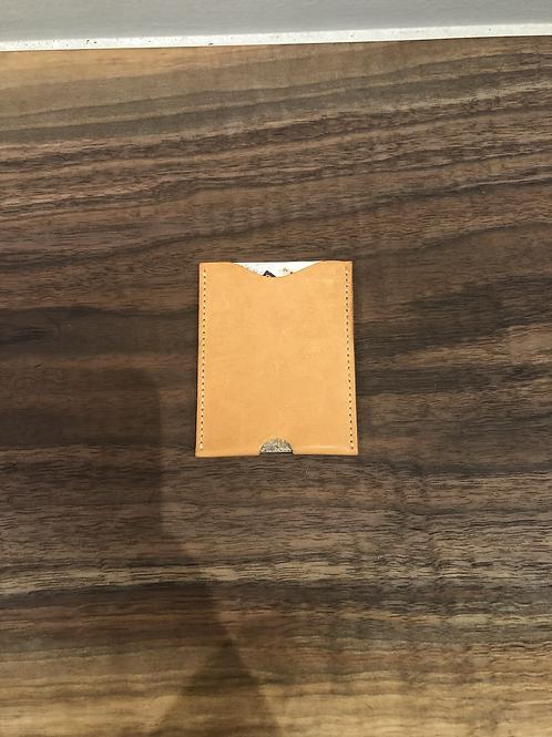 Leather Micro Card Holder-Tan