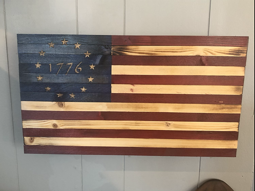 Small Wooden American Flag