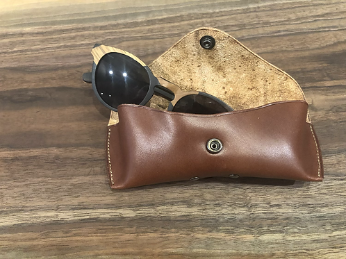Leather Eye Glass Case-Brown