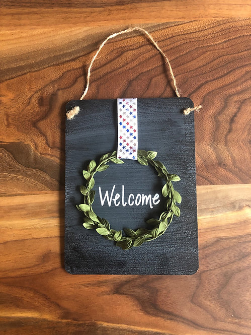 Chalkboard Wreath Welcome Sign- Stars Ribbon
